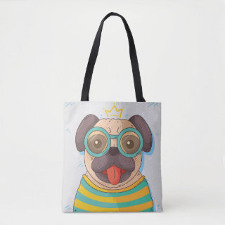 Pug with glasses tote bag
