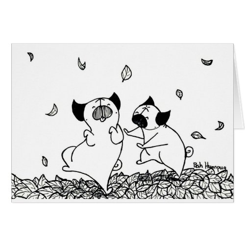 Pugs Dancing in Leaves