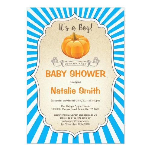 Pumpkin Baby Shower Invitation Fall Autumn Boy