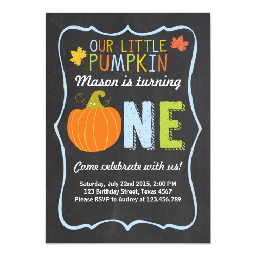 Pumpkin Birthday invitation Blue First Birthday