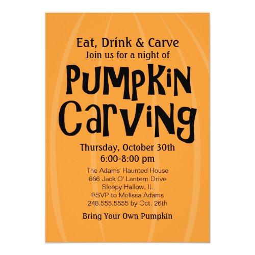 Pumpkin Carving Party   Halloween Invitation