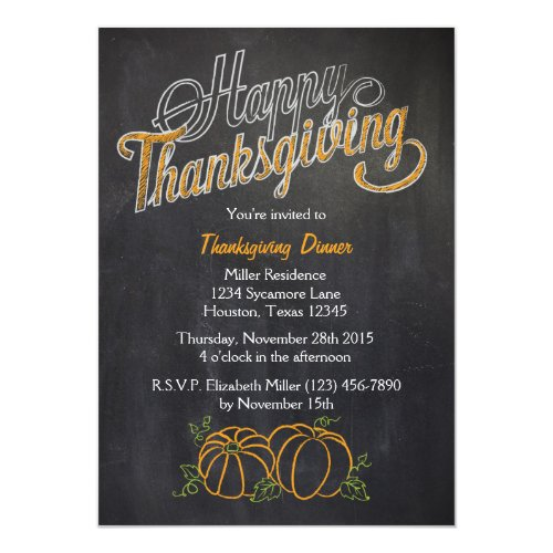 Pumpkin Chalkboard Thanksgiving Dinner Invitation