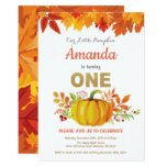Pumpkin Fall First Birthday Gold Glitter Invitation