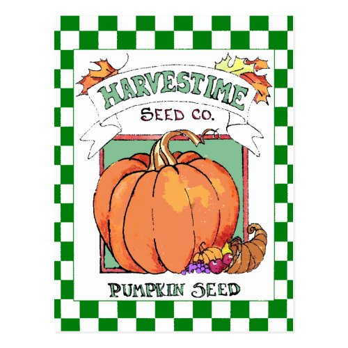 Pumpkin-Fall Harvest-Seed Packet Postcard