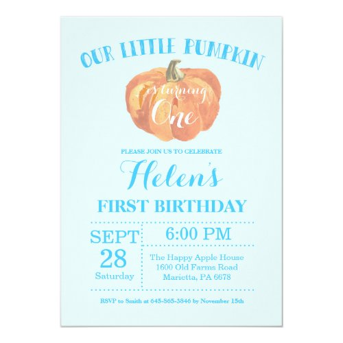 Pumpkin First Birthday Invitation Blue