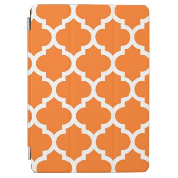 Pumpkin Orange Wht Moroccan Quatrefoil Pattern #5 iPad Air Cover