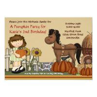 Pumpkin Patch Girl Brunette Invitation