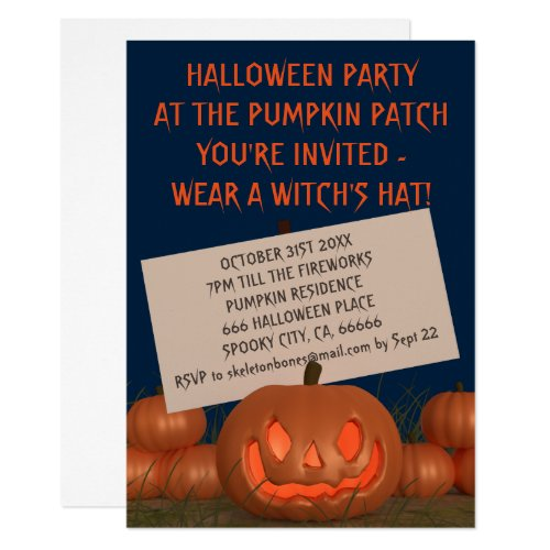 Pumpkin Patch Halloween Carving Party Invitation