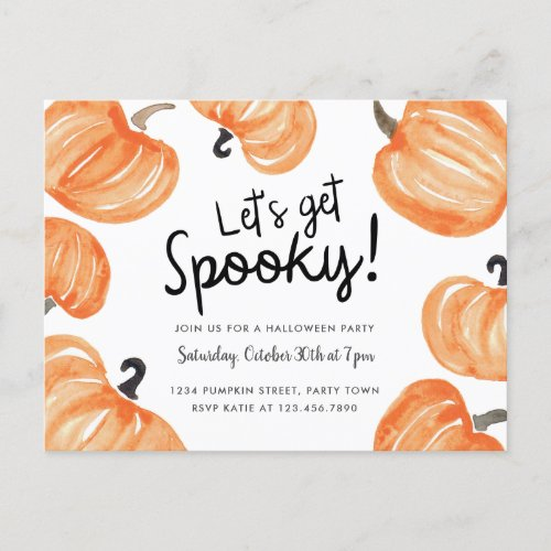 Pumpkin Patch Halloween Party Invitation Postcard