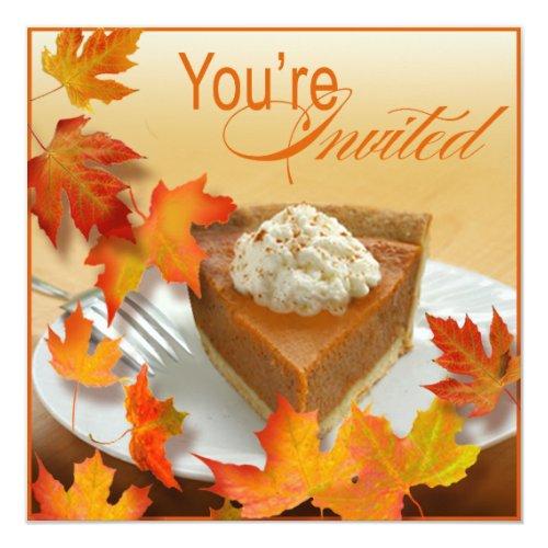 Pumpkin Pie Falling Autumn Leaves Thanksgiving Invitation