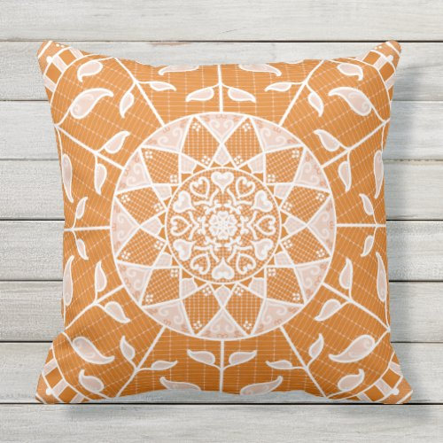 Pumpkin Pie Mandala Outdoor Pillow
