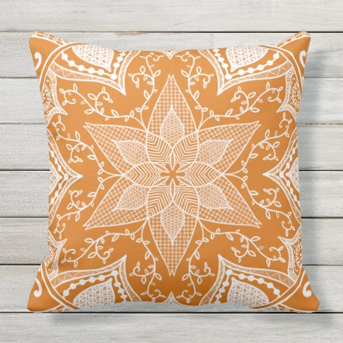 Pumpkin Pie Mandala Throw Pillow