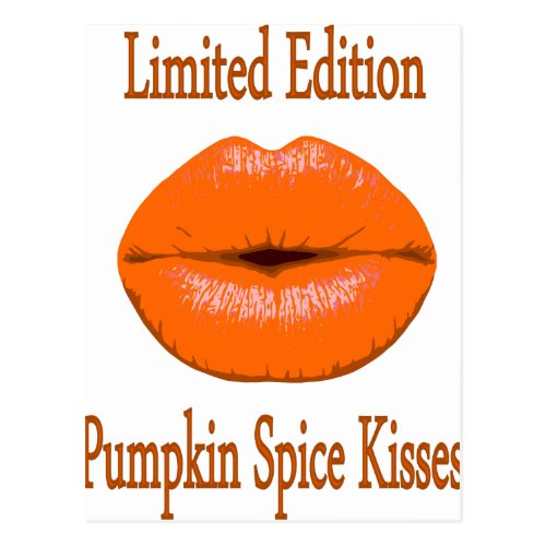 pumpkin spice kisses postcard