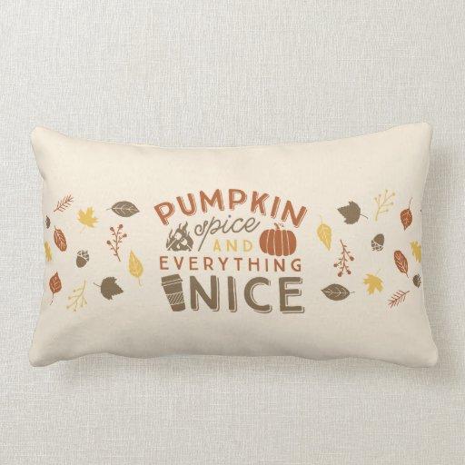 Pumpkin Spice Typographic Autumn Home Decor Lumbar Pillow