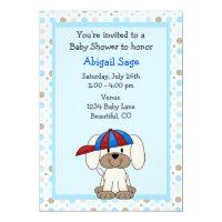 Puppy Baseball Baby Shower Invitation for Boys