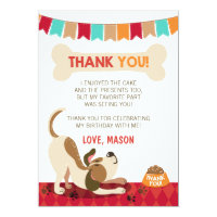 Puppy Birthday Paw-ty Puppy Thank You Card