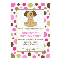 Puppy Dog Dots Pink Birthday Invitations