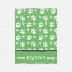 Puppy Dog Paw Print Blanket Add Doggie Name