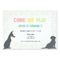 Puppy Dog Theme Birthday Party Card