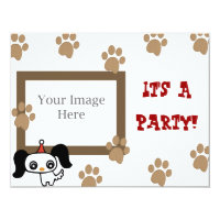 Puppy Paw Print Party Card