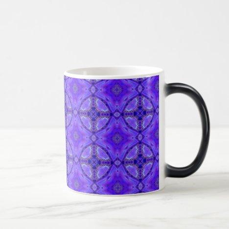 Purple Abstract Flowers, Lattice, Circle Quilt Magic Mug