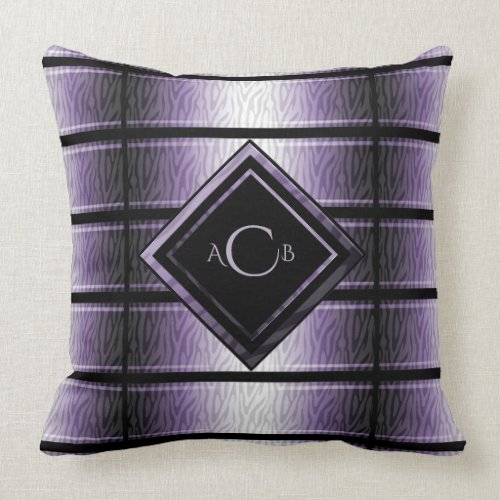 Purple and Black Zebra Monogram Pillow