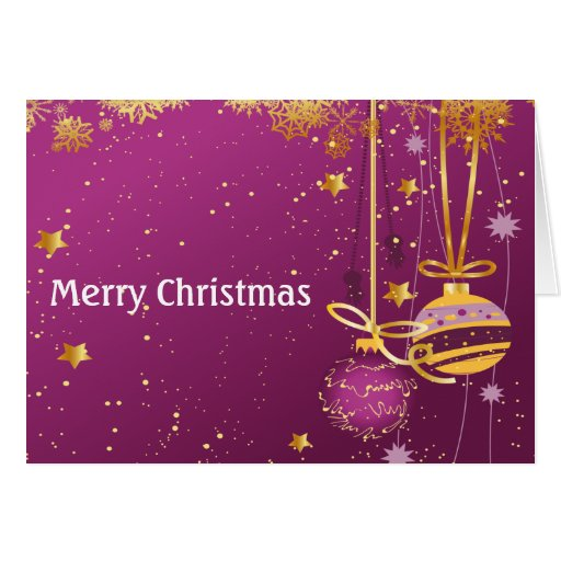 Purple And Gold Christmas Ornaments Card Zazzle