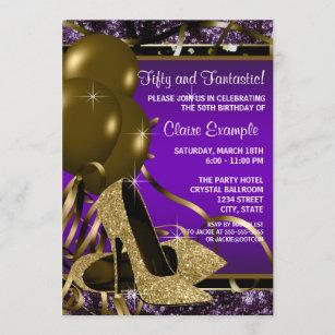 purple 18th birthday invitations zazzle