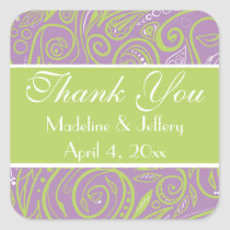 purple and lime paisley wedding theme stickers