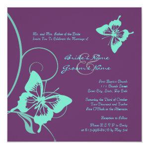 Turquoise And Purple Wedding Invitations Custom
