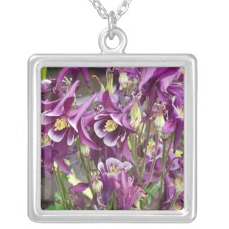 Purple and White Columbines Necklace necklace