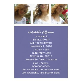 Purple And White: Picture Party Invitation