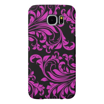 Purple & Black Damask Patterns Samsung Galaxy S6 Case