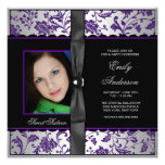 Purple Black Damask Photo Sweet 16 Party Personalized Invites
