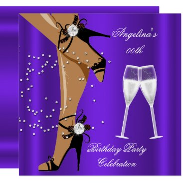 Purple Black Shoes Champagne Glass Birthday Party Invitation
