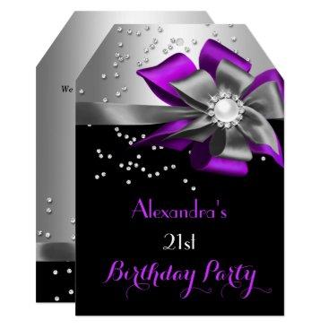 Purple Black Silver Bow Pearl Birthday Party Invitation