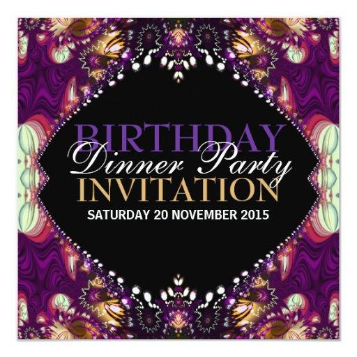 Purple Bohemian Birthday Dinner Party Invitation