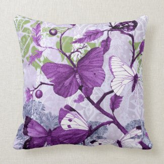 Purple Butterflies on a Branch American MoJo Pillo throwpillow