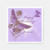 Purple Butterfly Birthday Napkins