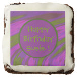 Purple chartreuse Color Swish Abstract Brownie
