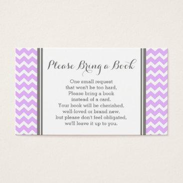Purple Chevron Baby Shower Book Request Card