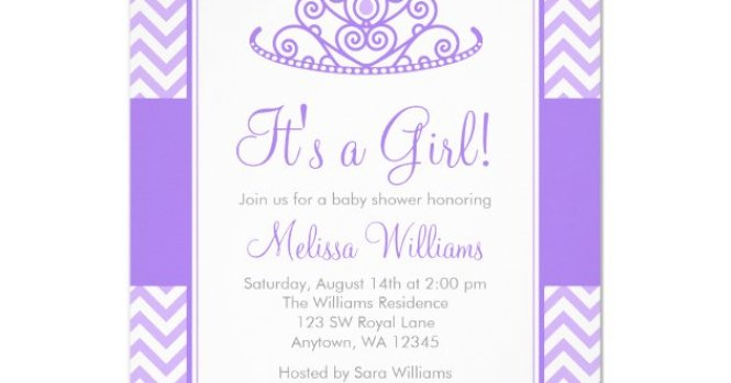 Purple Chevron Princess Crown Baby Shower Invitation Zazzle Com