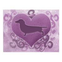 Purple Dachshund Valentine Postcard