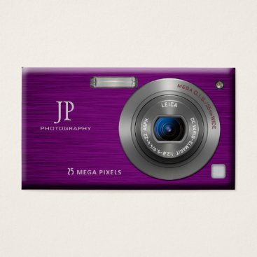 Purple Digital Camera Professional Photographer Business Card