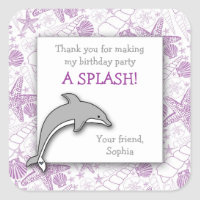 Purple Dolphin Birthday Party Favor Sticker