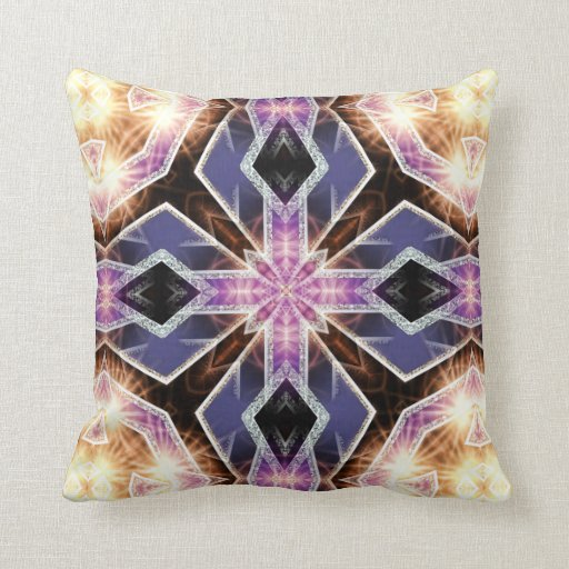 Purple Energy Crystal Glow Geometric Cushion