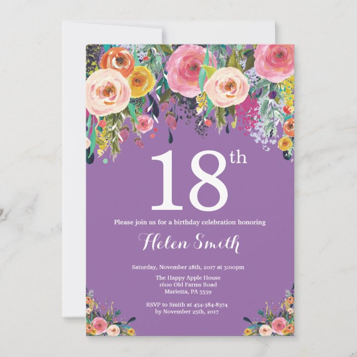 purple floral 18th birthday invitation zazzle com