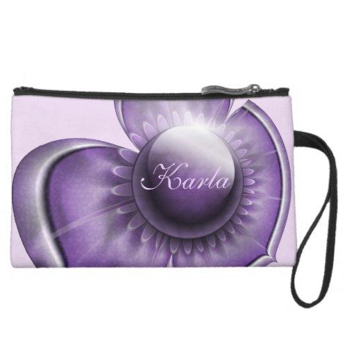 Purple Floral Gems Wristlets