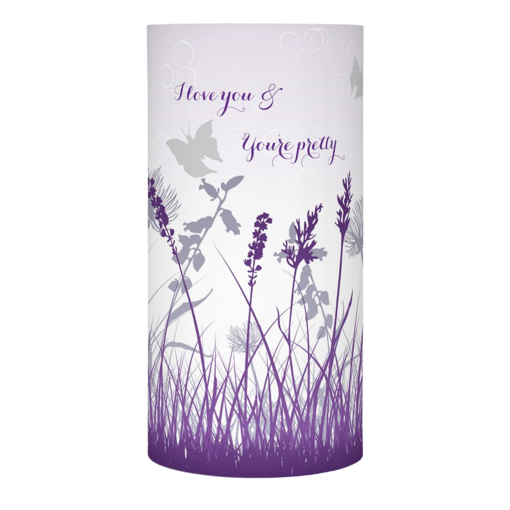 Purple Floral Personalized Text Flameless Candle