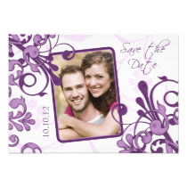 Purple Floral Photo Wedding Save the Date Custom Invites